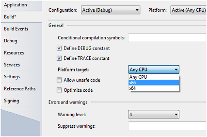 Setting targeted platform in Visual Studio (click to enlarge)
