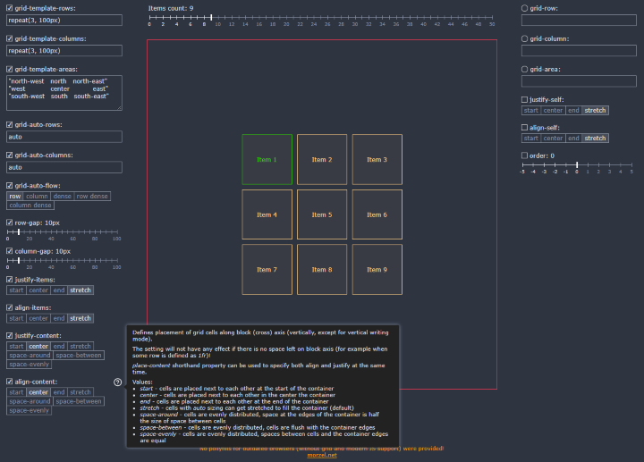 CSS Grid Playground - Rapid Experimentation... Click to enlarge...