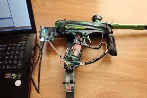 Controlling paintball marker with laptop... Click to enlarge...