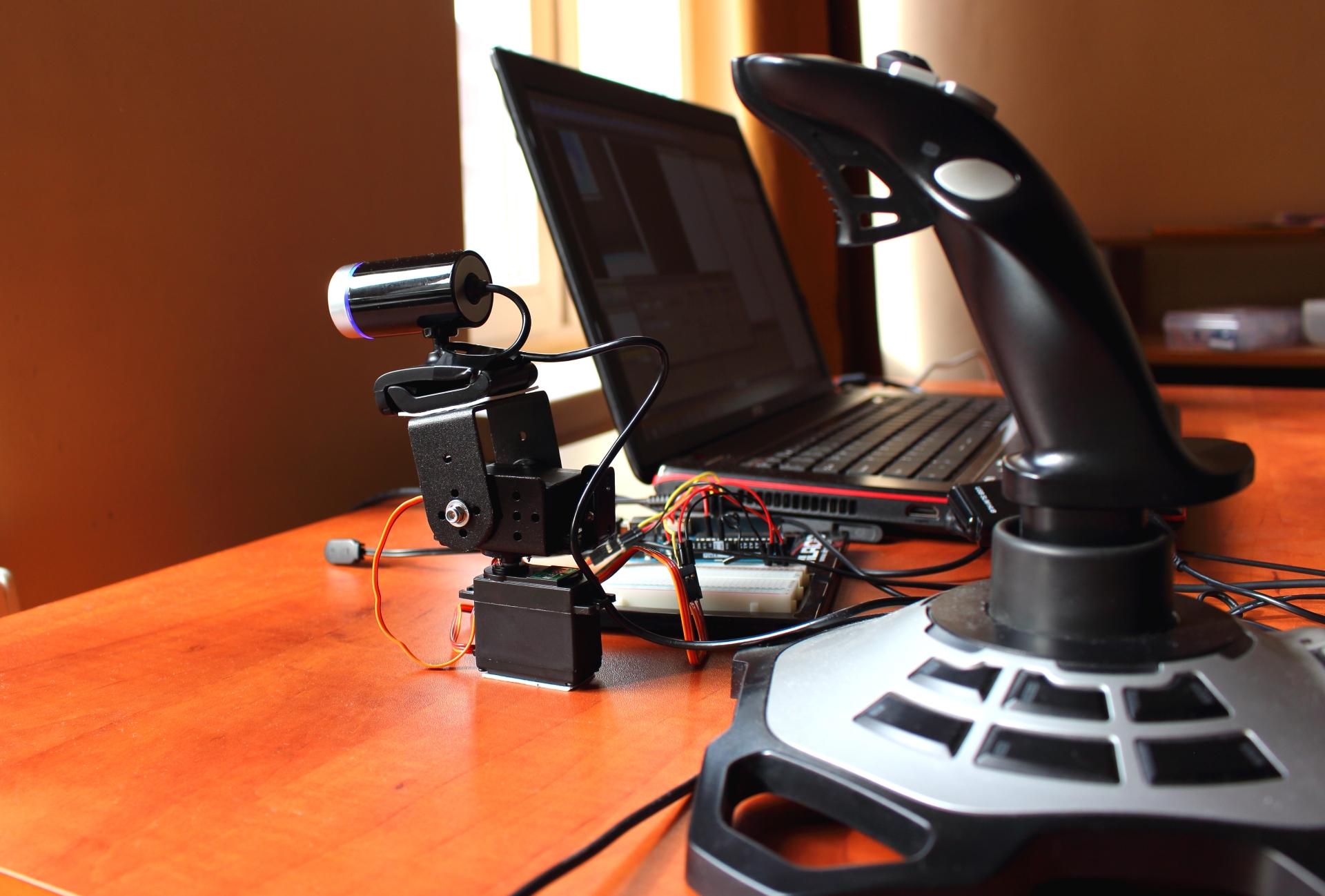 Oob moving webcam with joystick and servos arduino